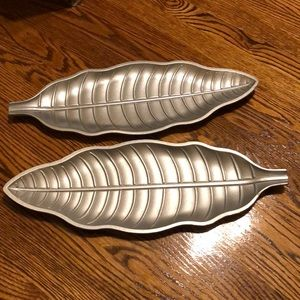 Pair of Wooden Silver Leaf trays